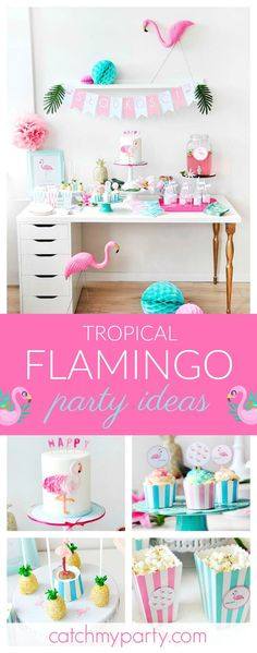 Get ready for summer with this gorgeous Tropical Pink Flamingo party. The ruffled flamingo cake is so cool!! See more party ideas and share yours at CatchMyParty.com