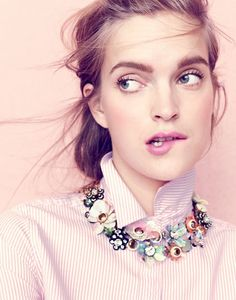 J.Crew women's boy shirt in striped cotton-Tencel® oxford and sequin and crystal rose necklace.