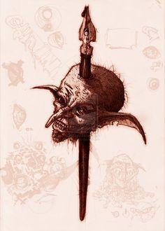 Goblin-Ink, Darker version by yzorg on DeviantArt Goblin, Sketching, Deviantart, Ink, Sketches, Tekenen