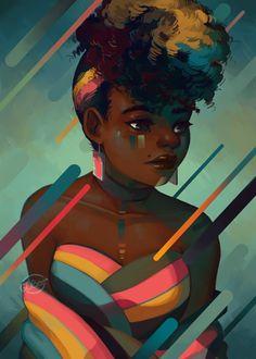 The art of Geneva Benton Digital illustrator 2017 Black Girl Cartoon, Black Girl Art, Black Women Art, Art Girl, Black Girls, Arte Black, Natural Hair Art, Black Art Pictures, Black Artwork