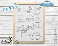 Food SVG Clipart Items Transparent Bundle Vector Sketches | Etsy How To Make Stickers, Clear Stickers, Vector File, Svg File, Bunny Drawing, Handmade Art, Craft, Planner Stickers, Clip Art