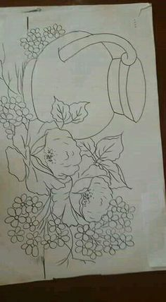 Painting Templates, Tole Painting Patterns, Fruit Painting, Fabric Painting, Flower Line Drawings, Art Drawings, Pintura Tole, Floral Embroidery Patterns, Flower Coloring Pages
