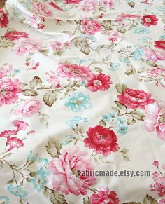 Large Pink Peony Floral Cotton Fabric on Off White by fabricmade