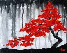 Red Bonsai Rain Original Oil Painting by sheriwiseman on Etsy