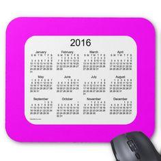2016 Magenta Calendar by Janz Mousepad Mouse Pad
