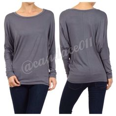 Long Sleeved Dolman Top (Steel) ❇️Bundle to save 15%!❇️ Scoop neckline 95% Polyester, 5% Spandex Loose in the torso. Fitted at the hip. Made in the USA Size Recommendations: (S) 2-4; (M) 6-8; (L) 10-12; (XL) 14-16; (2X) 18-20; (3X) 22-24 CC Boutique  Tops Tees - Long Sleeve