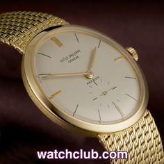 Patek Philippe Calatrava - 18ct Gold - Signed 'Asprey' REF: 2581 | Year 1960  Sleek and luxurious, this Patek Philippe Calatrava, with original silver-ivory dial, bâton hands, co-signed by Asprey, that bastion of English luxury shops, is a rare classic of its era. Production started in 1958 and only continued for about three years. The watch has a high-precision movement with Breguet overcoil hairspring, and Patek's patented Gyromax balance, and it has the original woven gold-mesh bracelet.