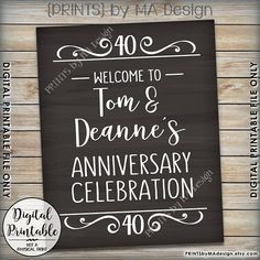 Anniversary Party Sign Welcome to the Anniversary Celebration