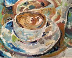 Espresso Coffee Morning Cup of Joe - Lisa Bisbee Lentz at Greater Good Gallery Carol Jones, New Bern, Greater Good, Contemporary Artwork, Espresso Coffee, Morning Coffee, Watercolors, Lisa, Pottery