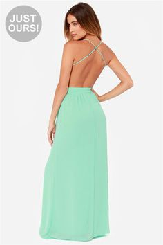 Yes please -> LULUS Exclusive Rooftop Garden Backless Mint Green Maxi Dress at Lulus.com!