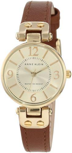 Anne Klein Women's Gold-Tone Champagne Dial and Brown Leather Strap Watch - Wrist Watches - Trending Fashion Accessories Anne Klein Watch, Brown Leather Strap Watch, Beige, Fashion Watches, Women's Watches, Wrist Watches, Smooth Leather, Watch Bands, Gold Watch