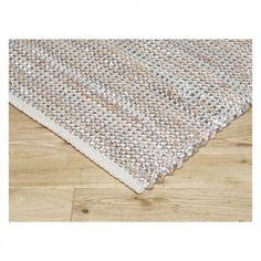 ANNIKA Medium natural handwoven jute rug with silver detail 140 x 200cm