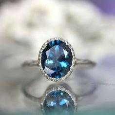 London Blue Topaz Milgrain Ring In No Nickel / by louisagallery, $149.00