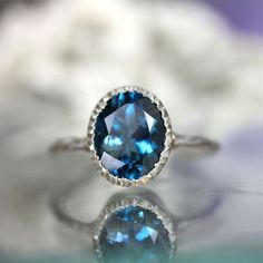 London Blue Topaz Sterling Silver Ring / Gemstone by louisagallery