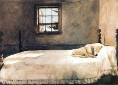 "Andrew Wyeth, ""Master Bedroom"" 1965.  One of my favorite prints. I bought one several years ago and had it framed. It's hanging in our 'master bedroom'."