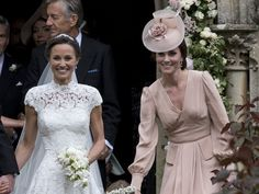 ENGLEFIELD GREEN, ENGLAND - MAY 20: Pippa Middleton and Catherine, Duchess of Cambridge attend the wedding of Pippa Middleton and James Matthews at St Mark's Church on May 20, 2017 in Englefield Green, England. (Photo by UK Press Pool/UK Press via Getty Images) via @AOL_Lifestyle Read more: https://www.aol.com/article/entertainment/2017/05/20/kate-middleton-serves-as-unofficial-bridesmaid-at-pippa-middleto/22100726/?a_dgi=aolshare_pinterest#fullscreen