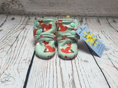 Mint Fox Print Stay on Booties - Baby Slippers - Baby Shoes - Baby Booties - Baby Boots - Toddler Booties - Baby Gift by YouAreMySunshineLtd on Etsy https://www.etsy.com/uk/listing/400191133/mint-fox-print-stay-on-booties-baby