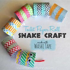 I'm over at Brassy Apple today sharing how we made this fun Toilet Paper Roll Snake Craft with Washi Tape. If your little ones loves washi tape and playing pretend with slithery snakes, they will Cardboard Tube Crafts, Cardboard Rolls, Toilet Paper Roll Crafts, Paper Crafts For Kids, Craft Activities For Kids, Preschool Crafts, Crafts To Make, Diy Crafts, Craft Ideas