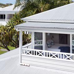 Trimming around veranda upstairs Perth, Brisbane, Melbourne, The Atlantic Byron Bay, Roof Design, House Design, Bungalow Extensions, Front Verandah, Porch Addition