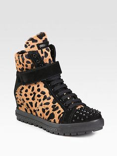 shopstyle.com: Miu Miu Calf Hair and Studded Suede Wedge Sneakers