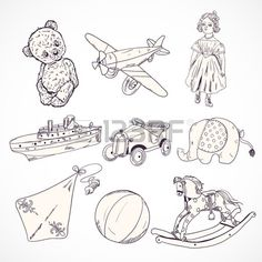 Vintage kids toys sketch icons set of teddy bear doll airplane car elephant isolated vector illustra Stock Vector