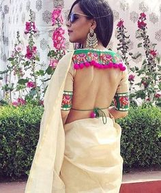 I present this catalogue of 30 latest blouse back neck designs that you all should try. Blouse and neck designs are at their beautiful best right now. Blouse Back Neck Designs, Simple Blouse Designs, Sari Blouse Designs, Latest Saree Blouse, Two Piece Skirt Set, Pom Poms, Backless, Blouses, Designer Clothing