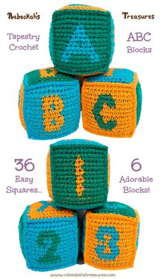 Crochet Squares Patterns Free Tapestry Crochet ABC Blocks Pattern by Rebeckah's Treasures, video tutorial for turning squares into block Crochet Baby Toys, Crochet Bebe, Knit Or Crochet, Crochet Crafts, Free Crochet, Crochet Projects, Crochet Applique Patterns Free, Tapestry Crochet Patterns, Crochet Square Patterns
