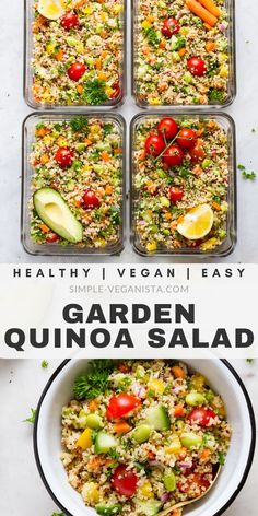 Recipes Snacks Meal Prep Easy Quinoa Salad is loaded with colorful veggies and a zesty garlic-lemon dressing, and is healthy and delicious! This quinoa salad recipe makes a great light lunch or dinner, and is perfect for meal prep. Vegan and vegetarian. Clean Eating Vegetarian, Vegetarian Meal Prep, Lunch Meal Prep, Healthy Meal Prep, Clean Eating Recipes, Vegetarian Quinoa Salad, Clean Diet, Keto Meal, Healthy Cooking