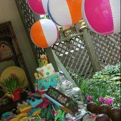 Luau party idea..hanging beach balls