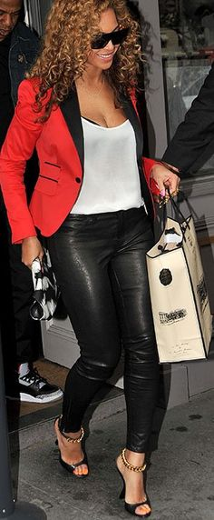 Beyonce in red blazer  black leather pants I Stars #Fashion Style