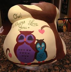 Owl theme belly cast from my 3rd pregnancy that I painted freehand myself :)