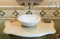 This unique vanity features Jerusalem Gold with stone sink, ogee edging, and rounded corner details. Marble Countertops Bathroom, Bar Countertops, Vanity Backsplash, Natural Stone Countertops, Stone Sink, Diy Bathroom Decor, Mosaic Glass, Gold Marble, Cornice