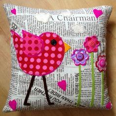 Newspaper Bird Cushion. £35.00, via Etsy. Can also use as scrapbooking idea!