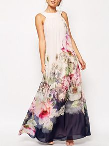 White Sleeveless Flowery Florals Chiffon Maxi Dress