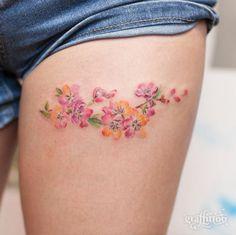 Small thigh flower watercolor tattoo idea for women small thigh tattoos, small flower tattoos for Design Tattoo, Flower Tattoo Designs, Tattoo Designs For Women, Tattoos For Women Small, Tattoo Flowers, Tatoo Henna, Get A Tattoo, Back Tattoo, Wrist Tattoo