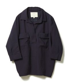 DRWCYS Basic LINE(ドロシーズベーシックライン)のレーヨンツイルフラップシャツ(シャツ/ブラウス) ネイビー