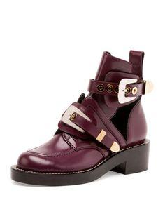 Flat+Moto+Ankle+Boot+w/Buckles+by+Balenciaga+at+Bergdorf+Goodman.