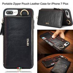 Multifunction Pocket Cover For iPhone 6 6s 7 Plus Case 2 In 1 Removable Zipper Wallet Leather Cases 6s Plus Purse Waist Pack Bag #Affiliate