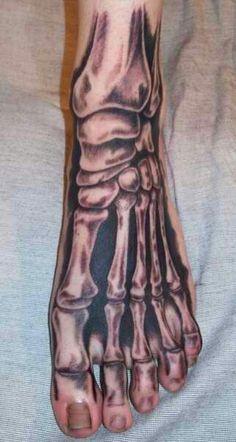 bones painted onto foot