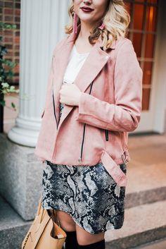 Snakeskin Slip Dress + Pink Suede Jacket