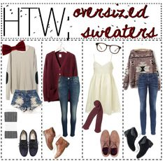 """""""HTW; Oversized Sweaters"""" by indie-in-wonderland ❤ liked on Polyvore"""