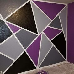Geometric accent wall, came out great! Geometric accent wall, came out great! Geometric accent wall, came out great! Wall Painting Living Room, Diy Wall Painting, Diy Wall Art, Room Paint, Bedroom Wall Designs, Accent Wall Bedroom, Bedroom Decor, Geometric Wall Paint, Geometric Decor