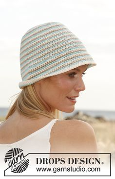 "Crochet DROPS hat with stripes in ""Paris"". ~ DROPS Design"