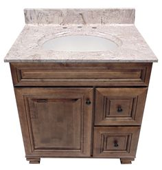 US Marble Cultured Marble Vanity Top. Shown in Brown on White with a Olympus White Integral Bowl.