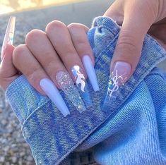 Blue Acrylic Nails, Summer Acrylic Nails, Acrylic Nail Designs, Glitter Nails, Summer Nails, Shiny Nails, Fancy Nails, Perfect Nails, Gorgeous Nails