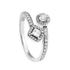 Abstract Elegance Rings with Clear CZ 100% 925 Authentic Sterling Silver Fine Jewelry Free Shipping