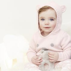 Bear Face Jumper - Pink AW 2015 http://www.parentideal.co.uk/the-white-company---baby-girls-clothing.html