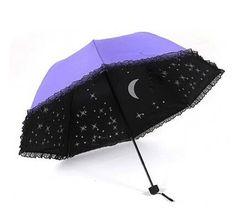 New Folding Windproof Anti UV Clear/Rain Lady Stars Sky Umbrella 10440 #Unbranded #CompactFolding