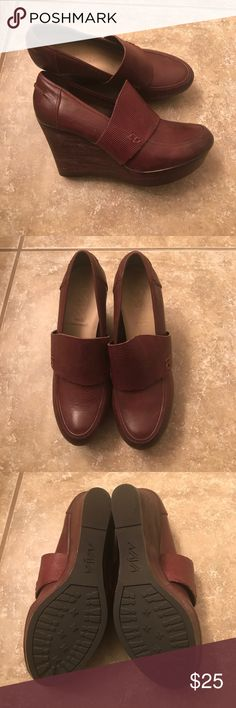 Brand new Naya merlot leather wedges. Sz 6.5 Brand new Naya merlot leather wedges. Sz 6.5 super comfortable. Mary Jane style. Never worn Naya Shoes Wedges