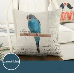 Find More Pillow Case Information about Blue Parrot Fashion Linen Cushion Cover Home Decorative  Pillowcase Bedroom Pillowcover 45*45cm,High Quality cushion box,China sofa bed air mattress Suppliers, Cheap sofa set latest designs from Winne on Aliexpress.com